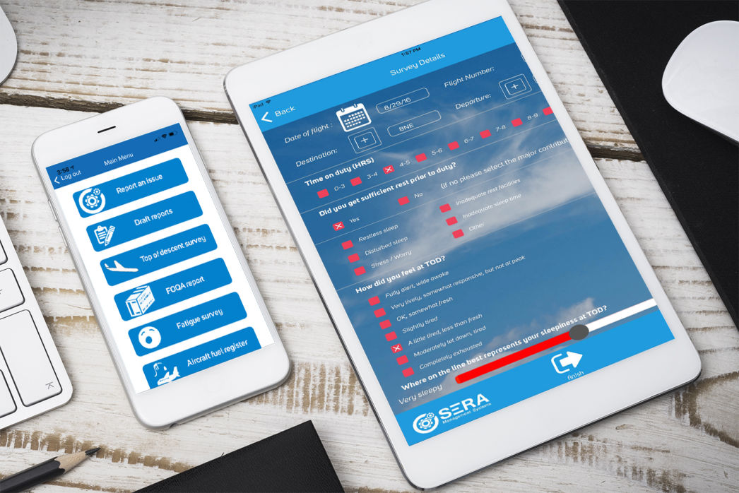 SERA eReport app for mobile devices